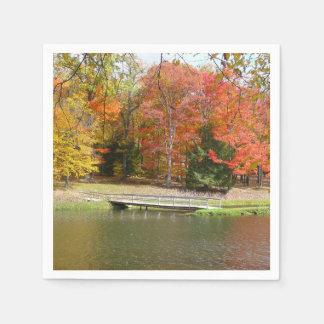 Seven Springs Fall Bridge III Autumn Landscape Disposable Serviette