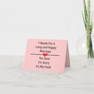 Seven Words For a Long and Happy Marriage Holiday Card