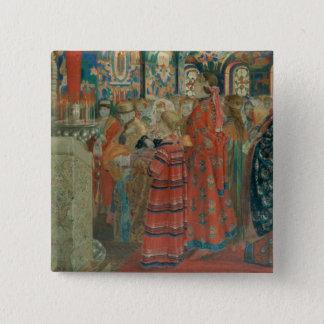 Seventeenth Century Russian Women at Church 15 Cm Square Badge