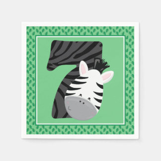 Seventh Birthday | Safari Animals | Zebra Disposable Serviette