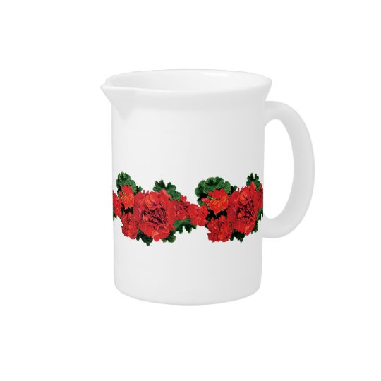 Several Red Geraniums Drink Pitchers