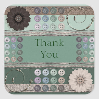 Sewing Enthusiast Green Square Sticker
