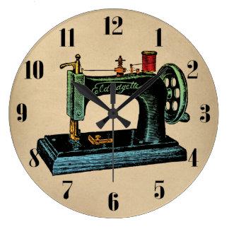 Sewing Machine Vintage Illustration Large Clock
