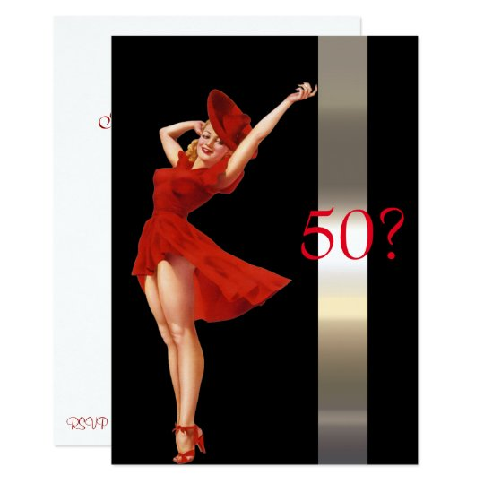 Sexy Pin Up,  Lady in Red, Birthday Invitation