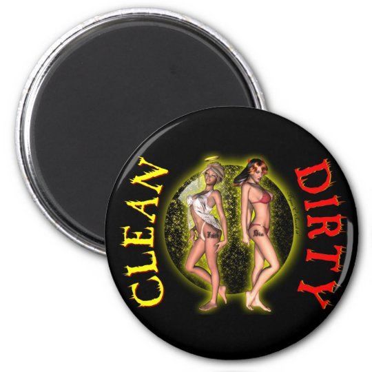 Sexy Pinup Pinup Dishwasher Dirty Clean Magnets! 6 Cm Round Magnet
