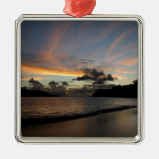 Seychelle Island sunset Silver-Colored Square Decoration