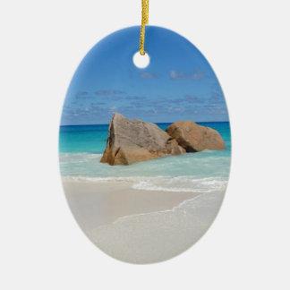 seychelles beach ceramic oval decoration