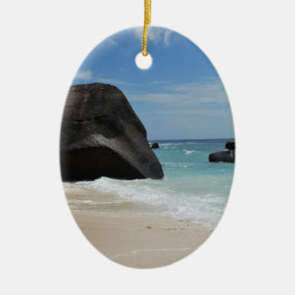 Seychelles beach ceramic oval decoration