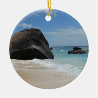 Seychelles beach round ceramic decoration