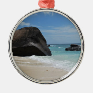 Seychelles beach Silver-Colored round decoration