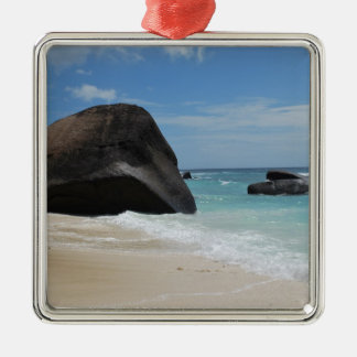 Seychelles beach Silver-Colored square decoration
