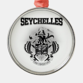 Seychelles Coat of Arms Silver-Colored Round Decoration