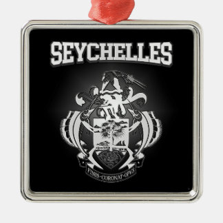 Seychelles Coat of Arms Silver-Colored Square Decoration