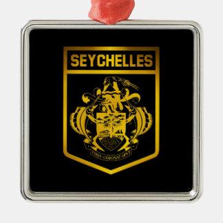 Seychelles Emblem Silver-Colored Square Decoration