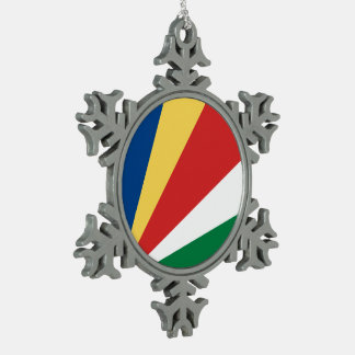 Seychelles Flag Pewter Snowflake Decoration