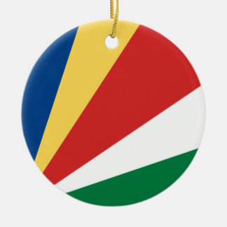 Seychelles Flag Round Ceramic Decoration