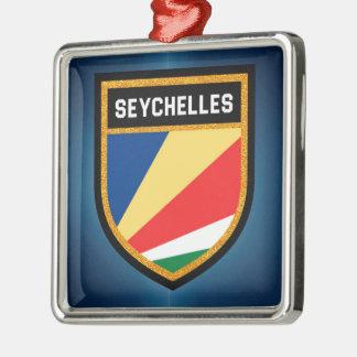 Seychelles Flag Silver-Colored Square Decoration