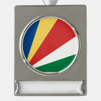 Seychelles Flag Silver Plated Banner Ornament
