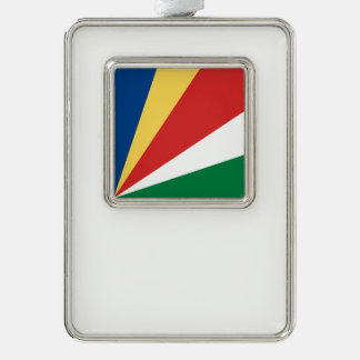 Seychelles Flag Silver Plated Framed Ornament