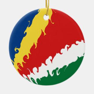 Seychelles Gnarly Flag Round Ceramic Decoration