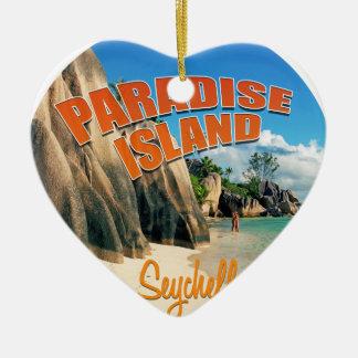 Seychelles paradise ceramic heart decoration