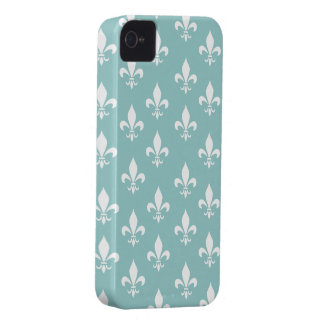 Shabby Chic Aqua Blue Fleur De Lis Pattern Case-Mate iPhone 4 Cases