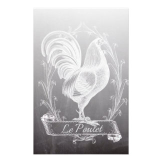 shabby chic blackboard french country rooster stationery
