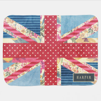 Shabby Chic | British Flag Custom Name Baby Blanket