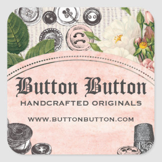 Shabby chic buttons bobbins sewing gift tag label square sticker