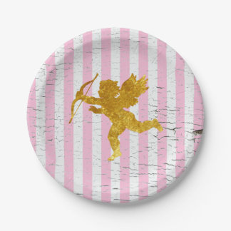 Shabby Chic Cupid on Stripes 7 Inch Paper Plate