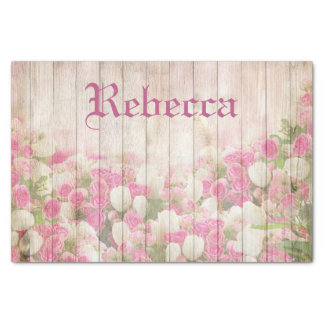 Shabby Chic Floral Roses On Wood Personalised Name Tissue Paper