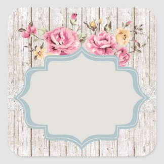 Shabby Chic Floral Rustic Wood & Vintage Lace Square Sticker