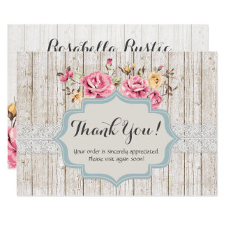 Shabby Chic Floral Rustic Wood Vintage Thank You Card