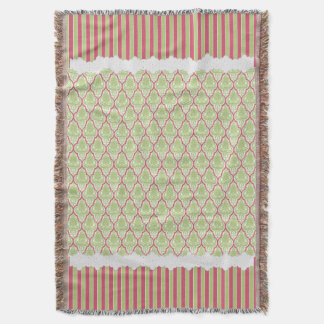 Shabby Chic Green & Rose Damask Throw Blanket