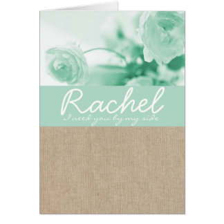 Shabby Chic Mint Peony Burlap Bridesmaid Request Card