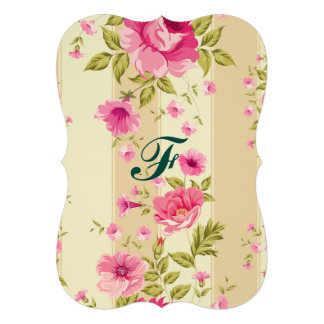 "shabby chic, pink floral,beige,vintage,victorian 5"" x 7"" invitation card"