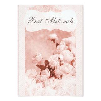 Shabby Chic Pink Peony Flowers Bat Mitzvah Card