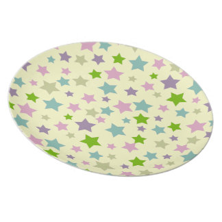 shabby chic retro stars pattern on cream plate