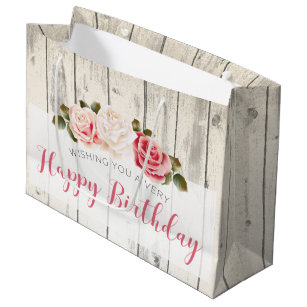 Shabby Chic Roses Rustic Wood Happy Birthday Large Gift Bag