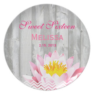 Shabby Chic Rustic Chevron Sweet Sixteen Birthday Plate