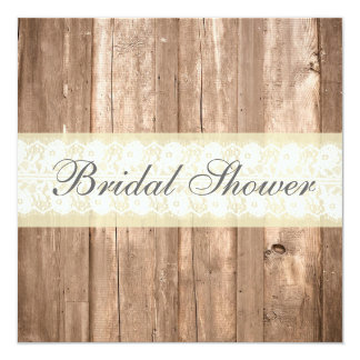 Shabby Chic Rustic Cream Bridal Shower Invitation