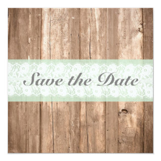 Shabby Chic Rustic Mint Save The Date 13 Cm X 13 Cm Square Invitation Card