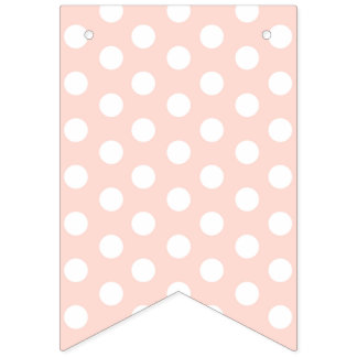 Shabby Chic White Dots on Pink Background. Bunting
