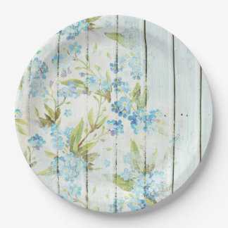 Shabby Chic Wood and Blue Flowers Paper Plate
