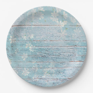 Shabby Chic Wood Blue White Flowers Paper Plate