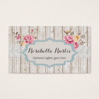 Shabby Chic Wood & Lace - Rosabella Rustic Business Card