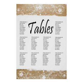Shabby Parchment and Lace Seating Chart Poster