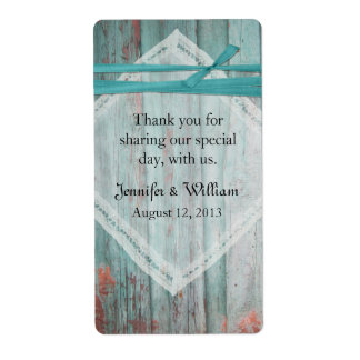 Shabby Turquoise Wood Wedding Mini Wine Label Shipping Label