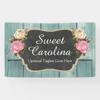Shabby Vintage Roses Rustic Country Chalkboard Banner