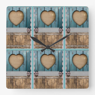 ShabbyChic Blue sandy Hearts kitchen Square Wall Clock
